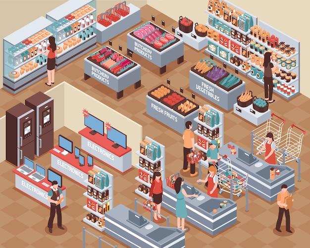 Ilustración isométrica de supermercado