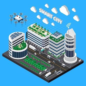 Ilustración isométrica de tecnología de ciudad inteligente con transporte y símbolos de ciudad limpia