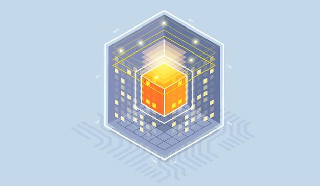 Ilustración isométrica de tecnología de computadora cuántica.