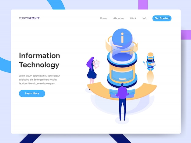 Ilustración isométrica de tecnología de la información para la página web
