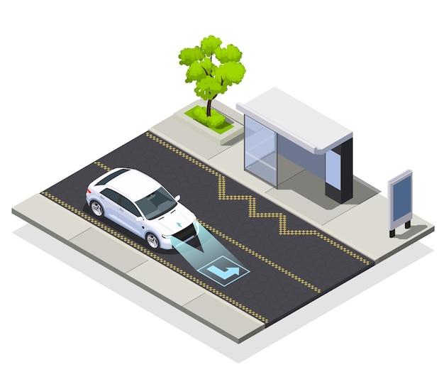 Ilustración isométrica de tecnologías de ciudad inteligente