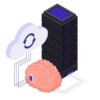 Ilustración isométrica de tecnologías de implantes de chips neurológicos