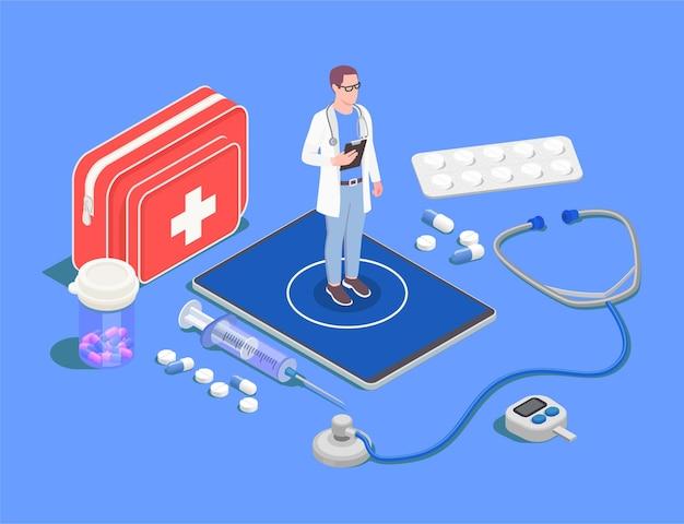 Ilustración isométrica de telemedicina y salud digital.
