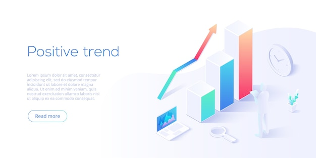 Ilustración isométrica de tendencia positiva