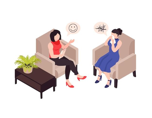 Ilustración isométrica de la terapia de psicología.
