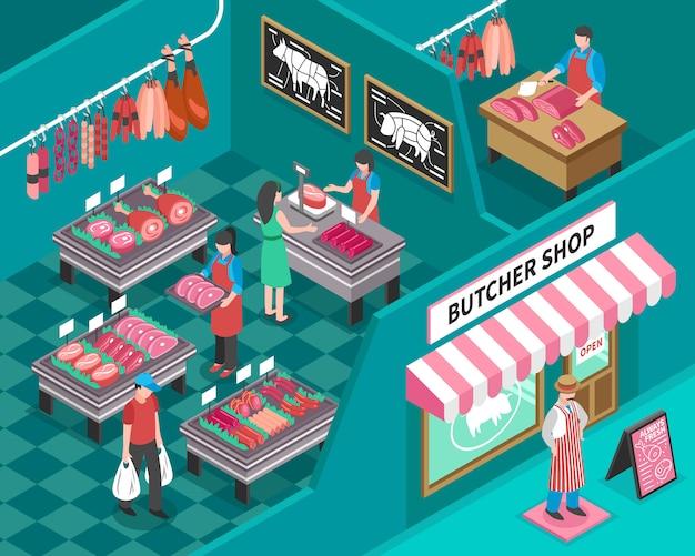 Ilustración isométrica tienda de carne