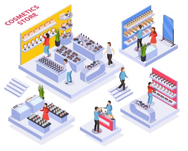 Ilustración isométrica de la tienda de cosméticos