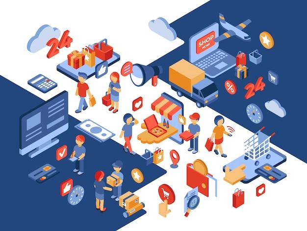 Ilustración isométrica de la tienda en línea con clientes satisfechos
