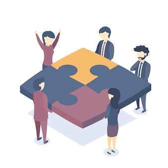 Ilustración isométrica el trabajo en equipo empresarial.