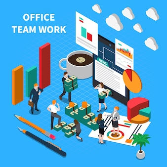 Ilustración isométrica de trabajo en equipo de oficina con símbolos de comunicación y progreso