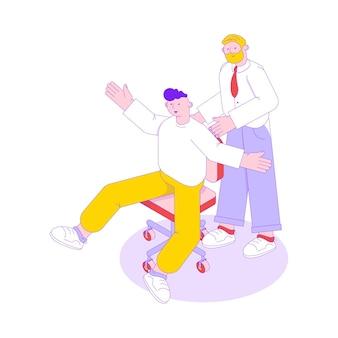 Ilustración isométrica de trabajo en equipo de personas de negocios con dos personajes masculinos 3d