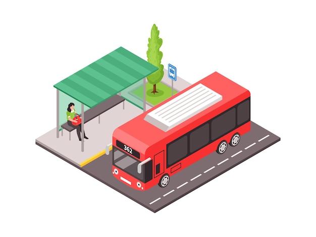 Ilustración isométrica con transporte público y mujer sentada en la parada de autobús 3d