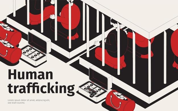 Ilustración isométrica de trata de personas