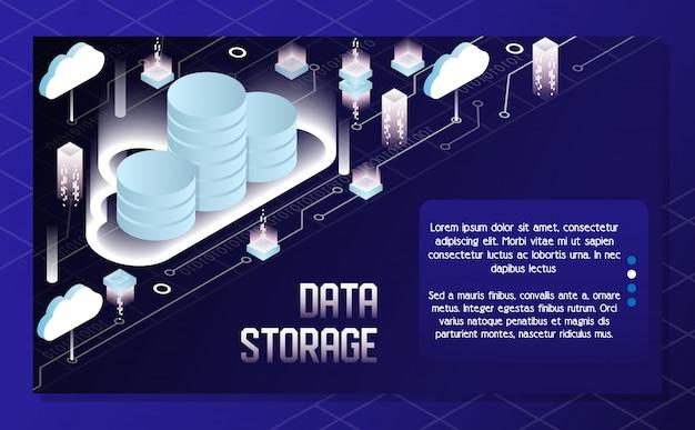 Ilustración isométrica de vector de almacenamiento de datos en la nube