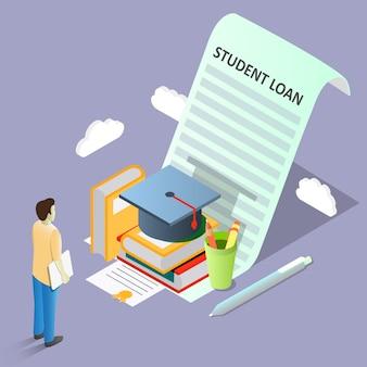 Ilustración isométrica de vector de concepto de préstamo estudiantil