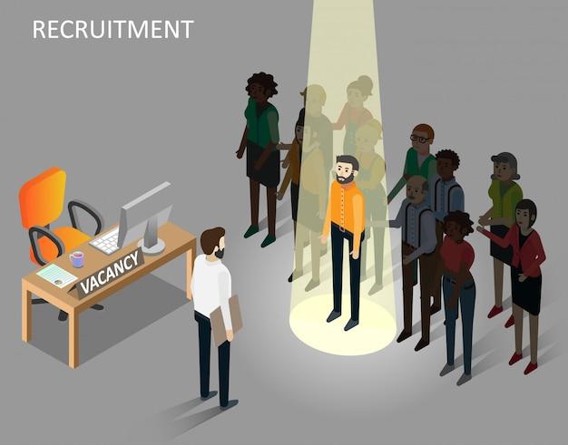 Ilustración isométrica de vector de concepto de reclutamiento