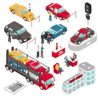 Ilustración isométrica del vector del concesionario auto showroom