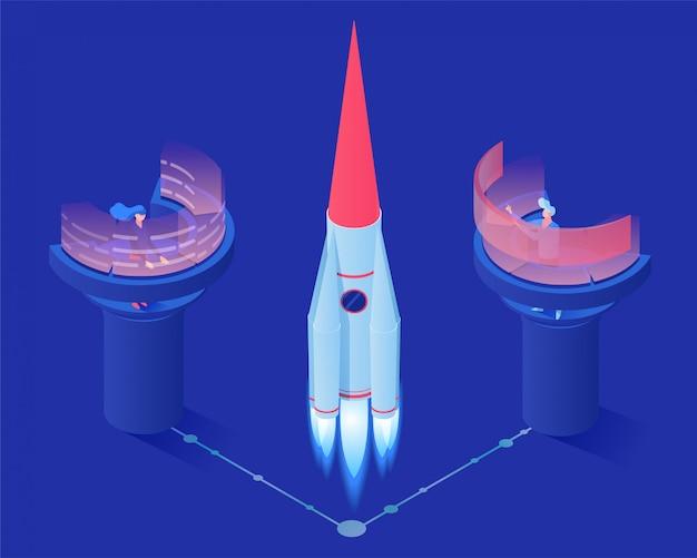 Ilustración isométrica de vector de lanzamiento de cohete espacial