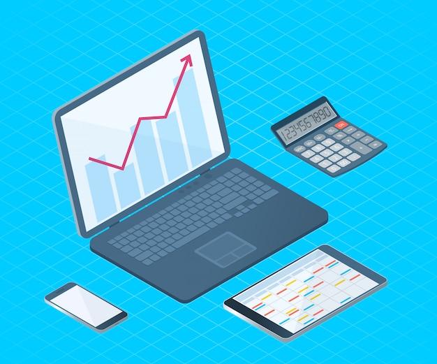 Ilustración isométrica de vector plano de equipos electrónicos de escritorio de oficina: computadora portátil, teléfono celular, tablet pc, calculadora matemática.
