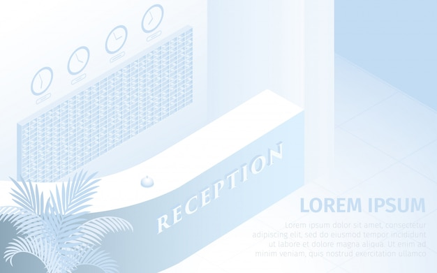 Ilustración isométrica del vector de la recepción del hotel