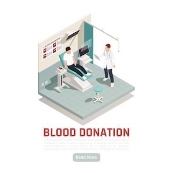 Ilustración isométrica de voluntariado de donación de caridad con botón leer más y texto editable con proceso de donación de sangre