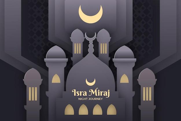 Ilustración de isra miraj en estilo papel con luna