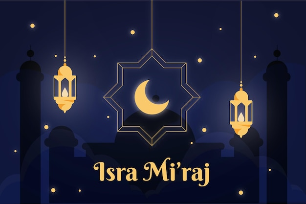 Ilustración de isra miraj con luna y linternas.
