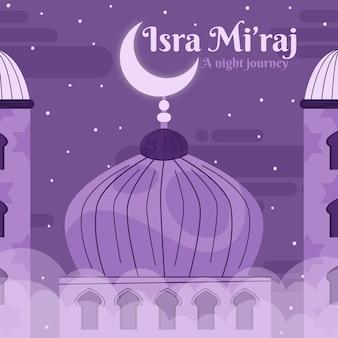Ilustración de isra miraj con luna