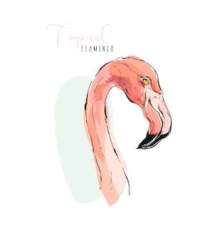 Ilustración istic del flamenco rosado del pájaro del paraíso exótico tropical en colores pastel aislados en el fondo blanco.