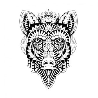 Ilustración de jabalí, zentangle mandala y diseño de camiseta