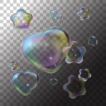 Ilustración jabón burbuja corazón y estrella en transparente