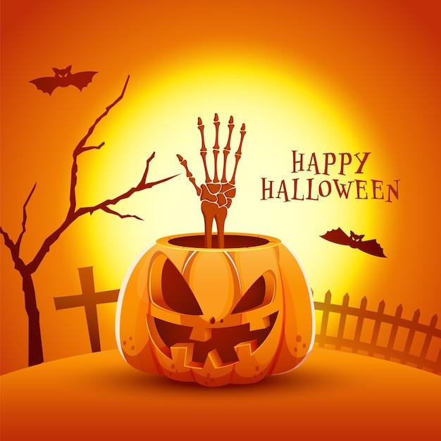 Ilustración de jack-o-lantern con mano esquelética, murciélagos volando, árbol desnudo, cementerio y valla sobre fondo naranja de luna llena para feliz halloween.
