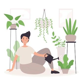Ilustración de jardinería en casa