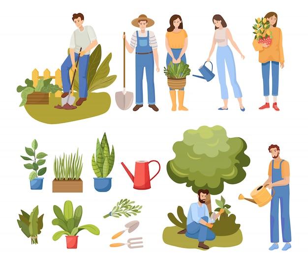 Ilustración de jardinería de personas. gente regando plantas y cavando jardín.
