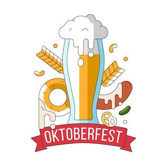 Ilustración de jarra con cerveza con espuma en la parte superior con aperitivos tradicionales y elementos decorativos