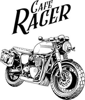 Ilustración de jinete cafe racer