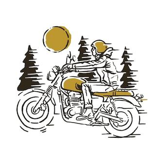 Ilustración del jinete del motorista