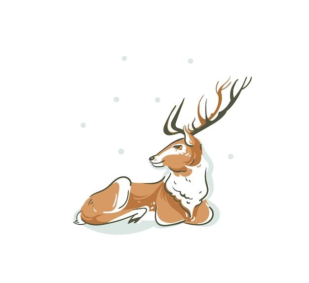 Ilustración con el joven reno de santa claus rudolph aislado sobre fondo blanco.