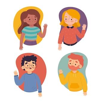 Ilustración de jóvenes agitando colección de mano