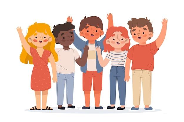 Ilustración de jóvenes agitando conjunto de mano