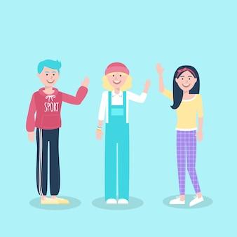 Ilustración de jóvenes agitando la mano