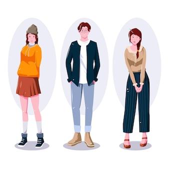 Ilustración de jóvenes coreanos de moda