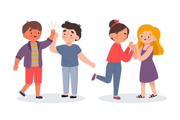 Ilustración de jóvenes dando cinco altos paquete