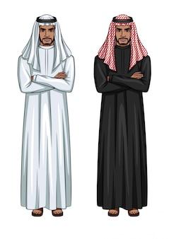 Ilustración de jóvenes empresarios árabes vistiendo ropas tradicionales colores blanco y negro.