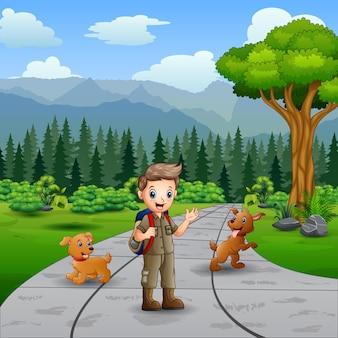 Ilustración de jóvenes exploradores y perros en la carretera.