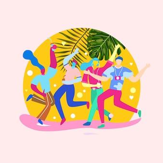 Ilustración de jóvenes festejando y bailando en la temporada de verano.
