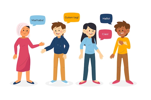 Ilustración de jóvenes hablando en diferentes idiomas colección