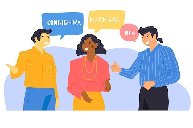 Ilustración de jóvenes hablando en diferentes idiomas
