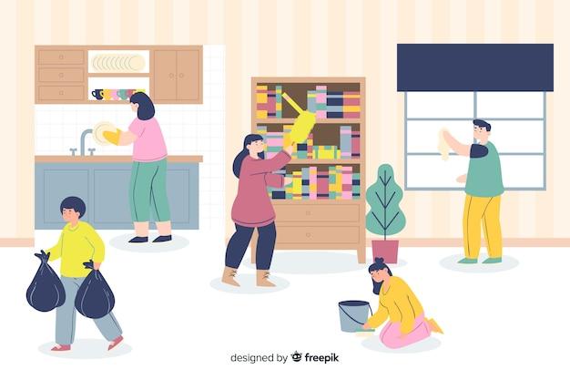 Ilustración de jóvenes haciendo tareas domésticas