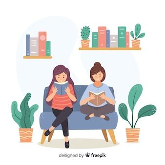 Ilustración de los jóvenes leyendo